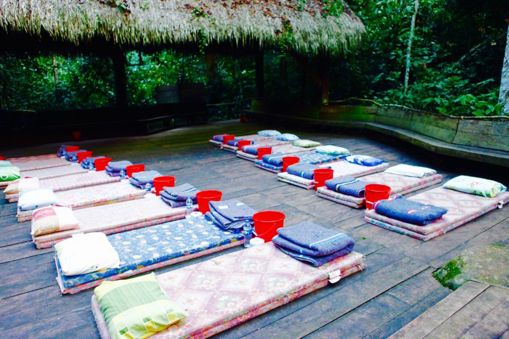 A comfortable set up for an intense Ayahuasca ceremony night