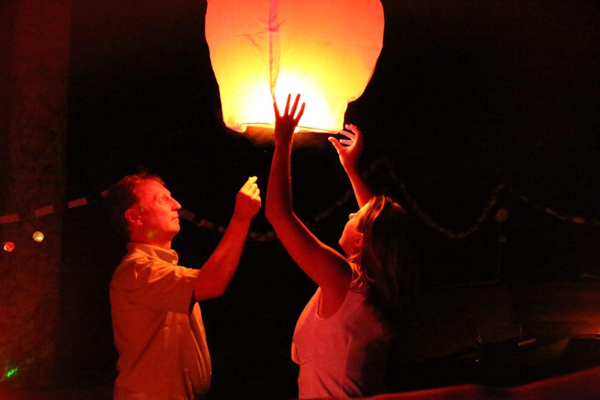 Sending the lanterns off