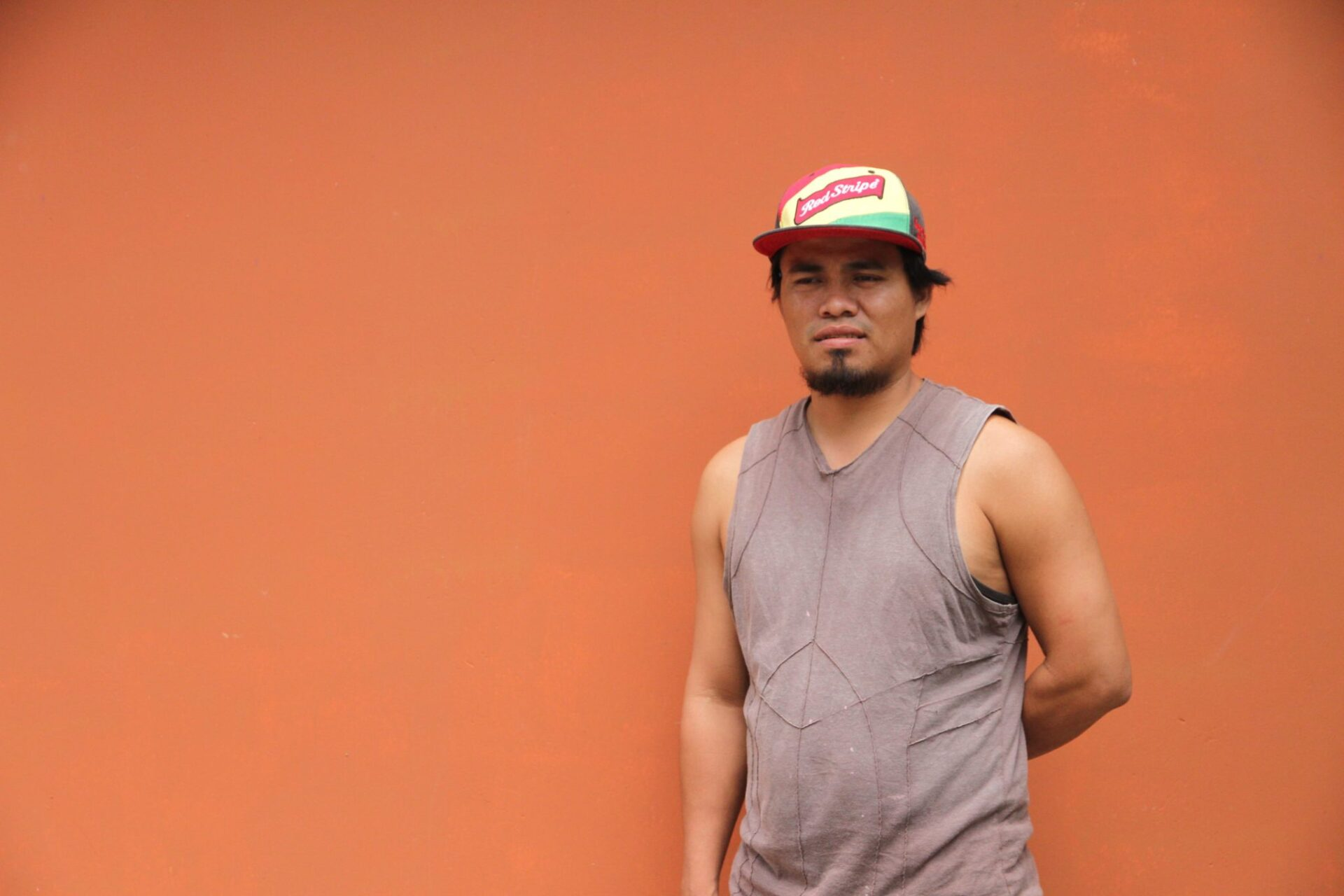 Julio Cabrera about to start his mural