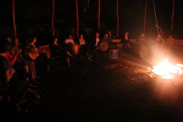 Jamming around the fire